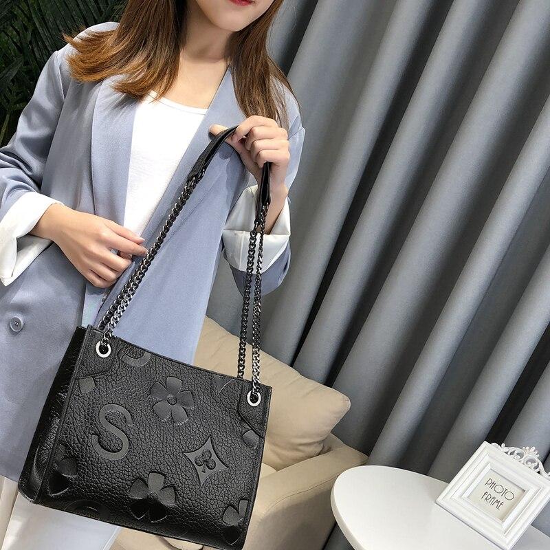 Women Genuine Leather Handbag For Women Fashion Boston Totes Crossbody Bag Female Luxury Designer Chain Shoulder Bag Louis Brand