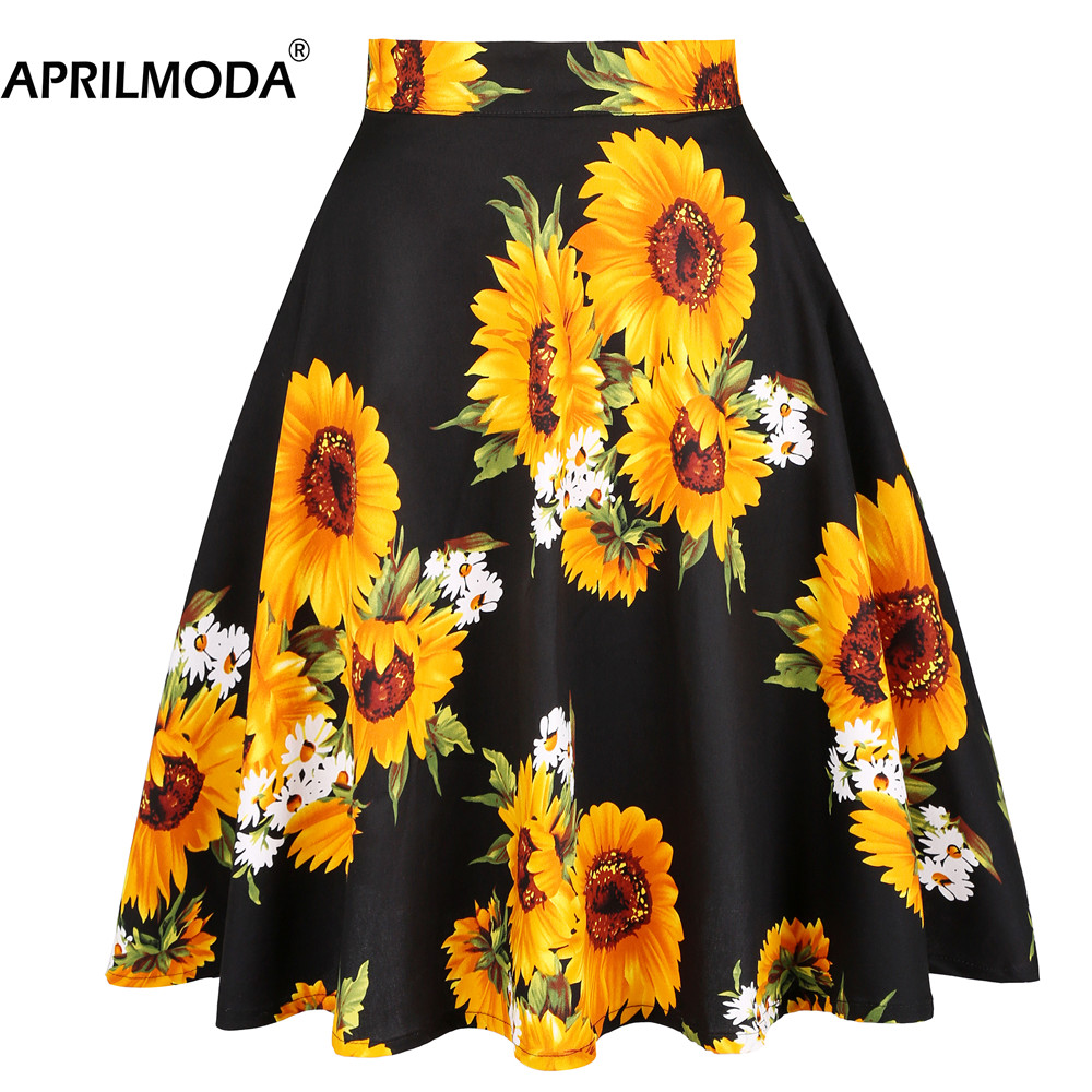 Sunflower Summer Pleated Skirts 2020 Womens Saias Midi Faldas 50s 1950s Vintage Women Big Swing Housewife Rockabilly Party Skirt