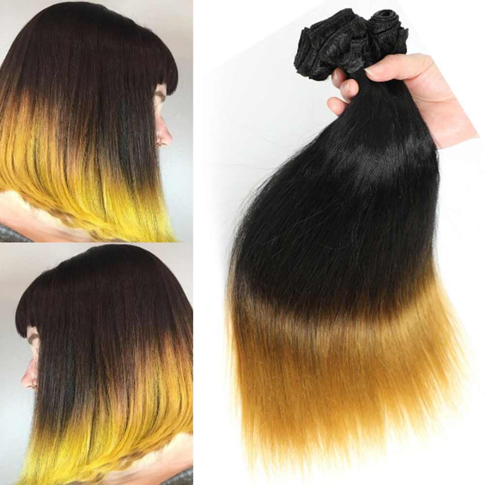 Straight Hair Bundles Wholesale Bulk 6Pcs/lot 200g Ombre Yellow Black One Pack Full Head Synthetic Hair Double Weft Hair