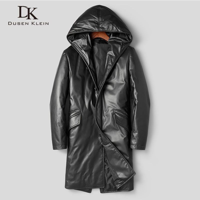 Men's Genuine Leather Jacket Winter Warm Down Coat Long Hooded Outerwear Cow Leather  New Designer Brand Luxury X89810-1