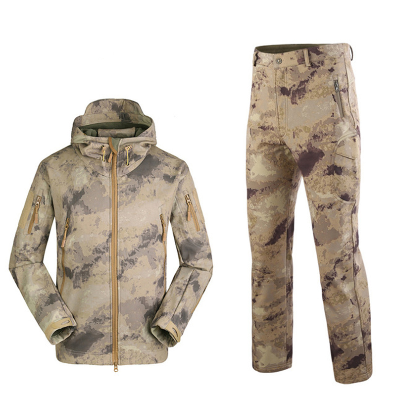 Military TAD Camouflage Shark Skin Soft Shell Tactical Suits Winter Autumn Waterproof Fleece Combat Gear Men Clothing Suit