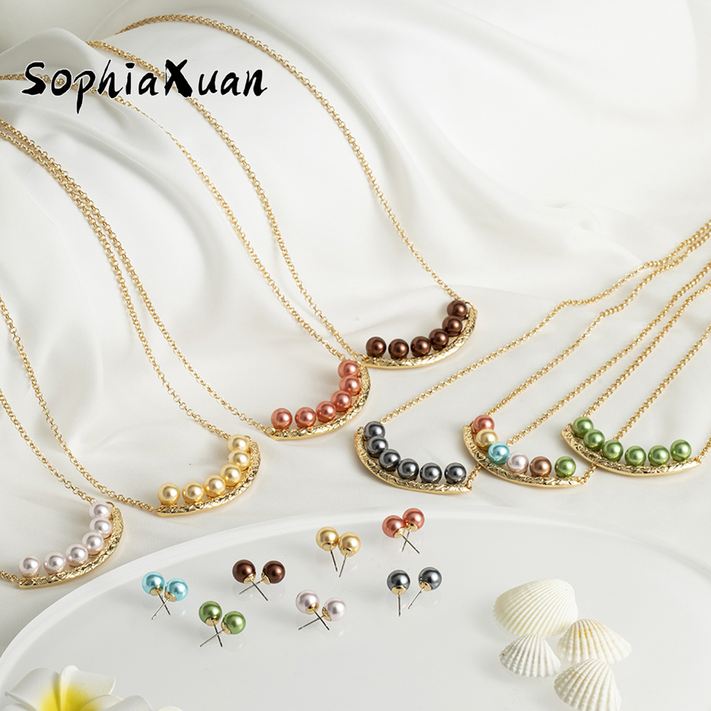 Multicolor Pearl Smile Necklace