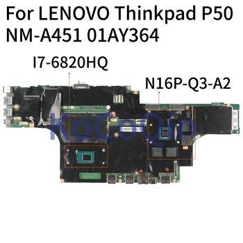 KoCoQin Laptop motherboard For LENOVO Thinkpad P50 Mainboard NM-A451 01AY364 SR2FU I7-6820HQ N16P-Q3-A2