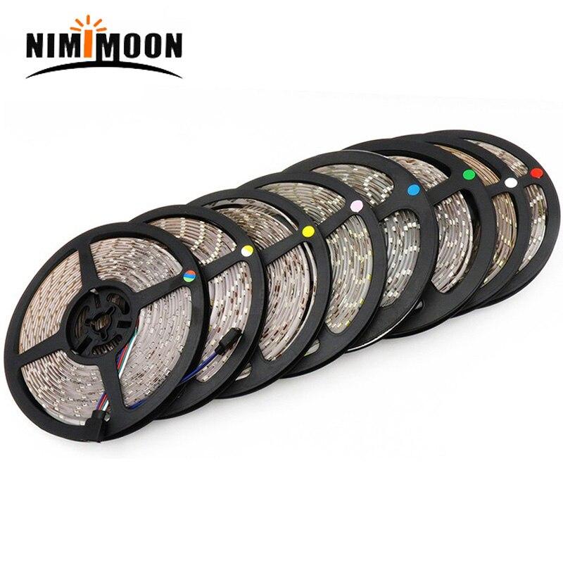 La corde Flexible de bande de LED de 5m allume 12V IP65 imperméable/IP20 aucun imperméable à leau lumière de bande de led du blanc/blanc chaud/rvb led 3528 SMD