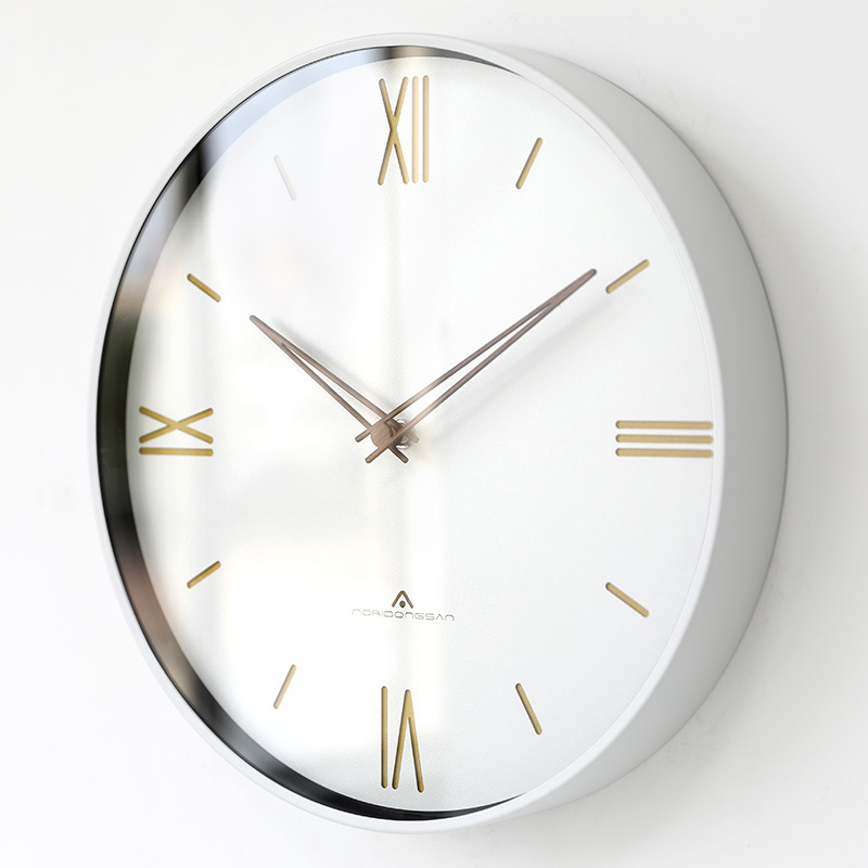 Horloge murale de luxe européenne muet mode américaine rétro horloge murale ronde romaine numérique chambre montres murales décor à la maison 6W905 - 3
