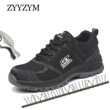 ZYYZYM Men Work Safety Boots Plus Size Unisex Outdoor Steel Toe Puncture Proof Protective Man Shoes