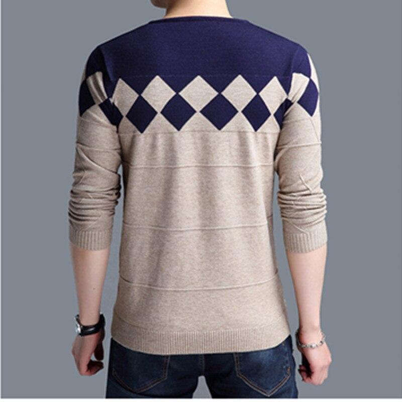 BROWON Autumn Vintage Sweater Men Collarless