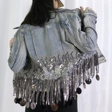 2020 new high quality Denim Jacket women Sequins Beading Tassels Hem Women Denim  Coat slim jeans Jacket Spring Women Coat NZY99