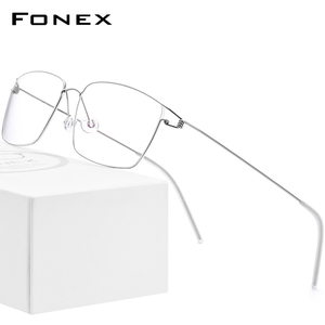 Image 1 - FONEX Titanium Alloy Optical Prescription Glasses New Women Myopia Eyeglasses Frame Men Ultralight Screwless Eyewear 98624