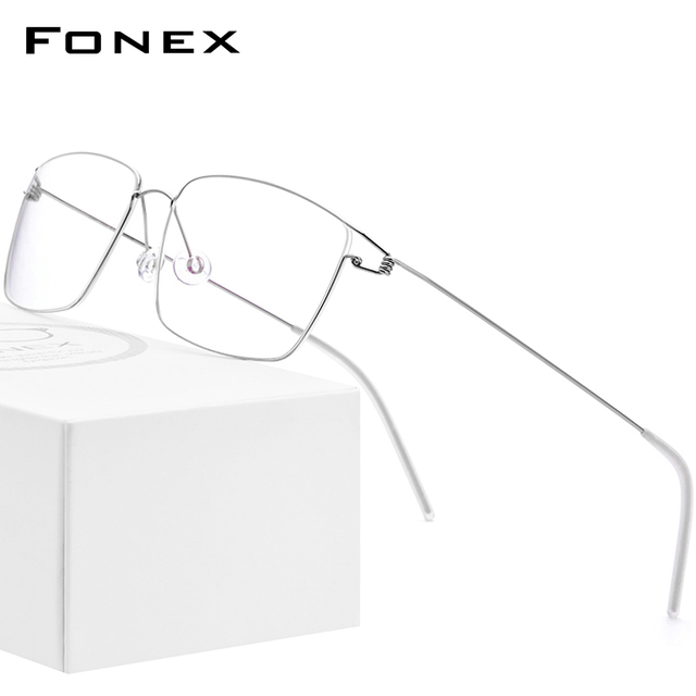 FONEX Titanium Alloy Optical Prescription Glasses New Women Myopia Eyeglasses Frame Men Ultralight Screwless Eyewear 98624