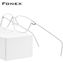 Fonex liga de titânio óculos de prescrição óptica nova mulher miopia óculos quadro ultraleve screwless eyewear 98624