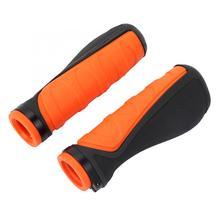 1 пара велосипедных рулей, резиновый руль, Нескользящие эргономичные велосипедные ручки, Оранжевый Черный Сверхлегкий велосипедный руль