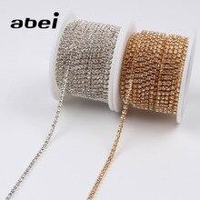 2 ярдов 2 мм Стеклянная лента с кружевом и кристаллами AB коготь лента кайма с вышивкой DIY ювелирных изделий ручной работы для свадебной вечеринки ремесло