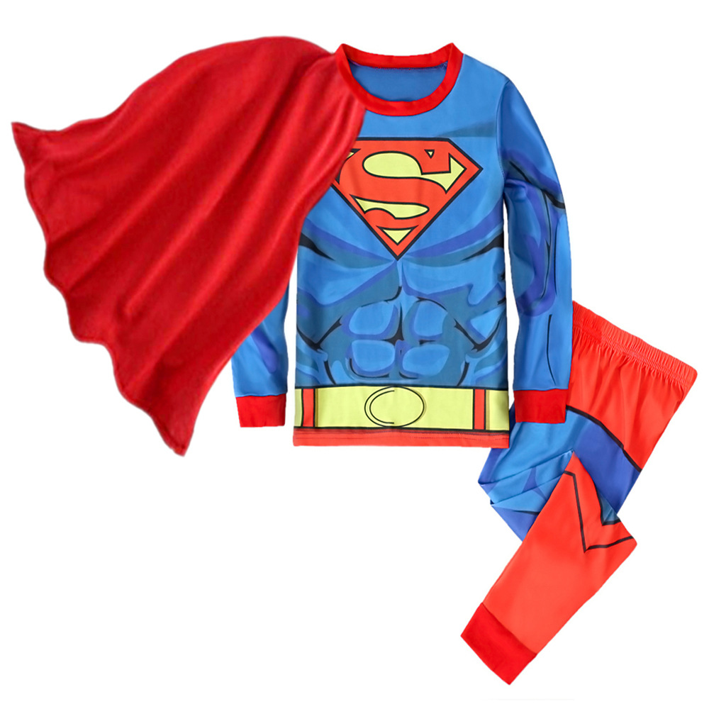 Kids Boy Superman Costume With Cloak Child Halloween Party Cosplay Superman Cotton Pajamas Sleepwear Children Clothes 18M-7T