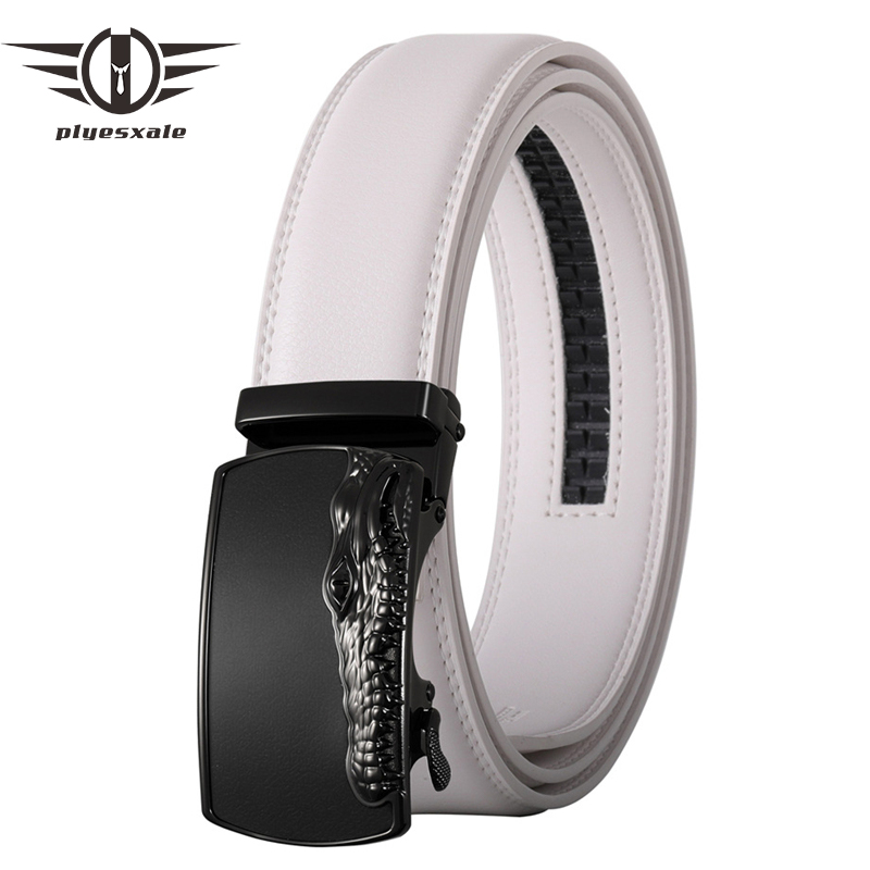Plyesxale White Men Belts Crocodile Automatic Buckle High Quality Cow Leather Belts For Men Luxury Work Business Strap Male B675