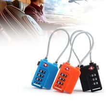 Transporte rápido novo 3 dígitos bloqueio de senha fio aço bloqueio de segurança mala bagagem codificado armário armário cadeado
