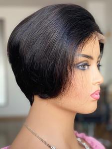 Wig 4x4 Short Yepei-Hair Lace Bob Pixie-Cut Remy Straight Brazilian 130%Density