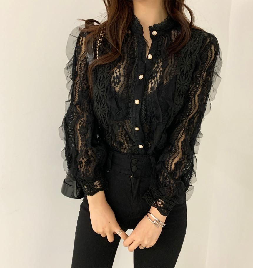 H51bc6f96ff934a1d988d059f2a43761cW - Spring / Autumn Stand Collar Long Sleeves Crochet Flower Lace Blouse