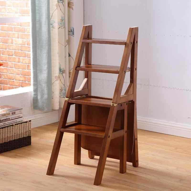 Ev katlanır tekerlekli sandalye tam katı ahşap merdiven sandalye çift kullanımlı merdiven tabure merdiven tabure ahşap merdiven çok fonksiyonlu Chai