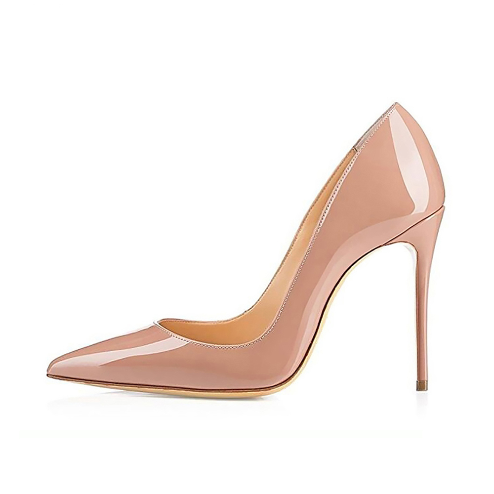 Women High Heels Shoes Pumps 10cm Black Stilettos Heels Sexy Pointed Toe White Pumps Nude Heels For Women Shoes Ladies Size 6-12