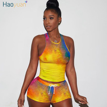 HAOYUAN Sexy Two Piece Set Women Tracksuit Summer Clother Matching Sets