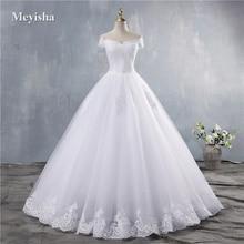 ZJ9143 2019 2020 새로운 화이트 아이보리 우아한 오프 숄더 웨딩 드레스 신부 들러리 레이스 아가씨 레이스 가장자리 플러스 크기