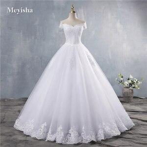 Image 1 - ZJ9143 2019 2020 חדש לבן שנהב אלגנטי כבוי כתף שמלות כלה עבור כלות תחתון תחרה מתוקה עם תחרה קצה בתוספת גודל