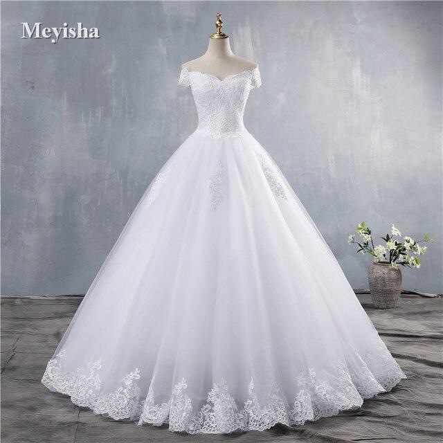 ZJ9143 2019 2020 חדש לבן שנהב אלגנטי כבוי כתף שמלות כלה עבור כלות תחתון תחרה מתוקה עם תחרה קצה בתוספת גודל