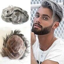 Toupet en cheveux humains à Base Mono pour hommes, tissage de cheveux gris argent, système de remplacement, ligne de cheveux naturels