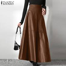 Women Elegant OL Solid Skirts Fashion PU Leather Skirt ZANZEA Office Lady Zipper Long Skirt Elegant Party A Line Bottom Oversize
