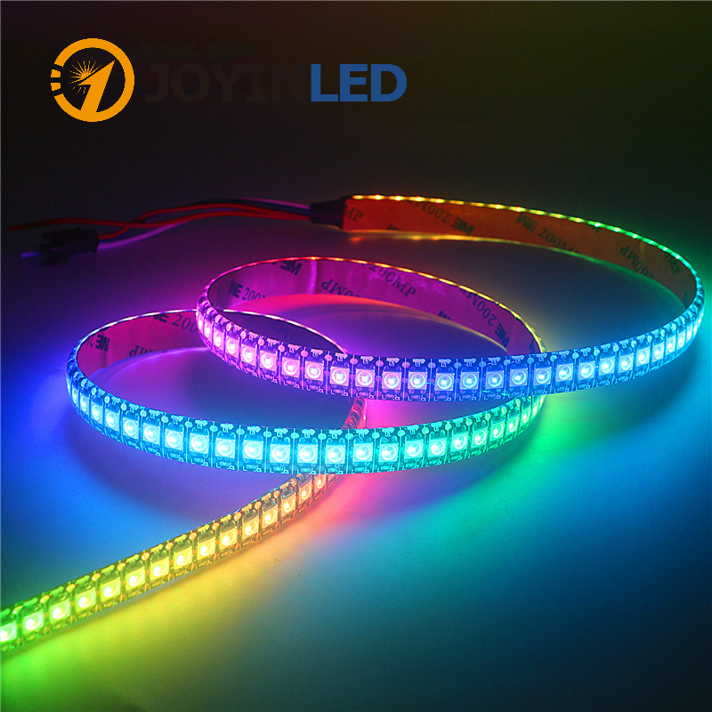 WS2812B DC5V LED Light Strip RGB 50CM 1M 2M 3M 4M 5M 30/60/144 LEDs Smart Addressable Pixel Black White PCB WS2812 IC Full Color