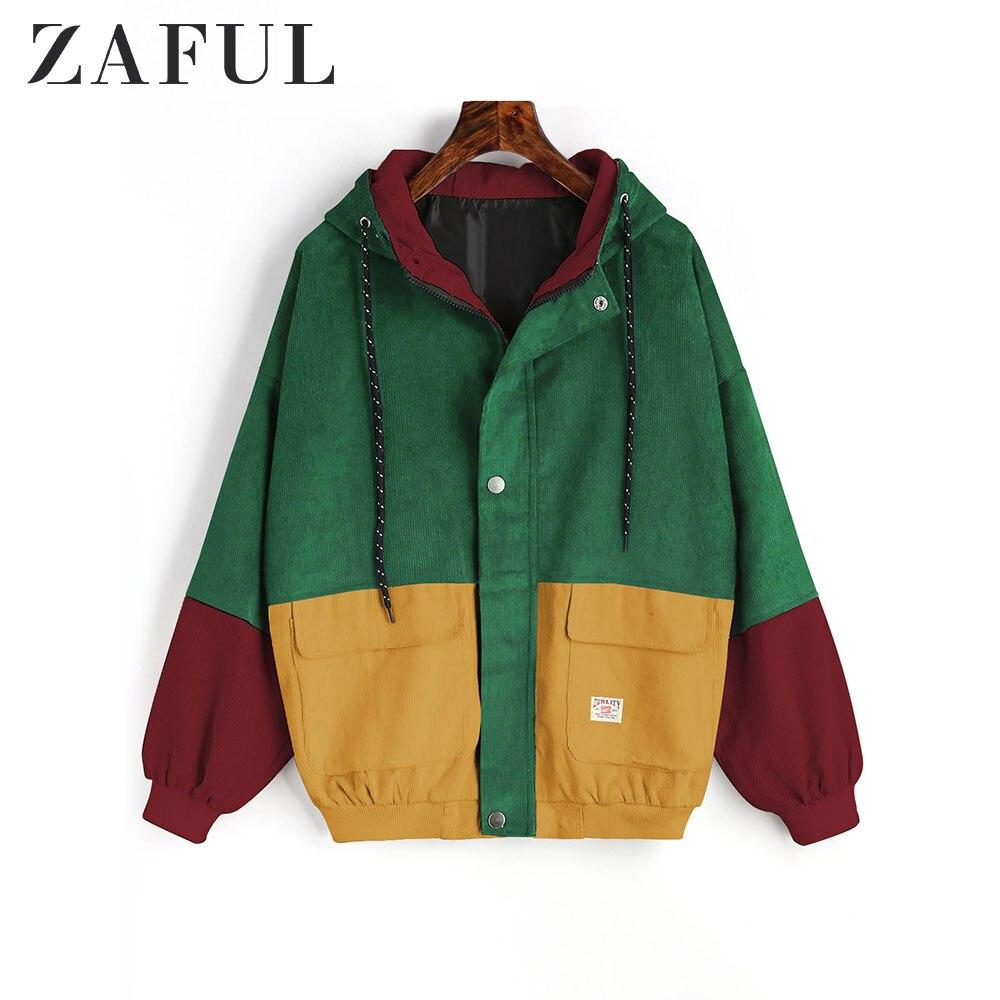 ZAFUL Jacket Coat Women Patchwork Color Block Hooded Pocket Corduroy Jackets Autumn Casual Jacket Coats Women Outerwear