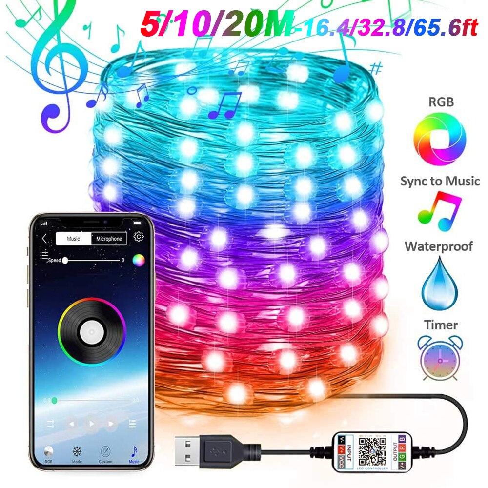 16 миллионов Цвета приложение Smart Bluetooth Управление RGB Фея светильник 5 м/10 м/20 м 50-200LED Водонепроницаемый USB медный провод Светильник s D30