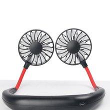 USB с двойной головкой, висящий на шее, тихий, портативный, ручной, электрический вентилятор, кондиционер, кулер, вентилятор охлаждения, летний стол, настольный, для домашнего использования