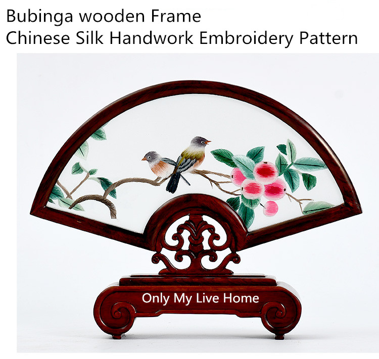 Luxury Home Decor Retro Decoration Ornaments Office Accessories Chinese Silk Handwork Embroidery Pattern with Bubinga Wood Frame