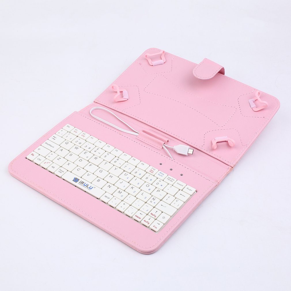 Portable Foldable PU Leather Case Cover Tablet Stand Holder Wired Keyboard Cover Case For Android 7 Inch Tablet Pink Color
