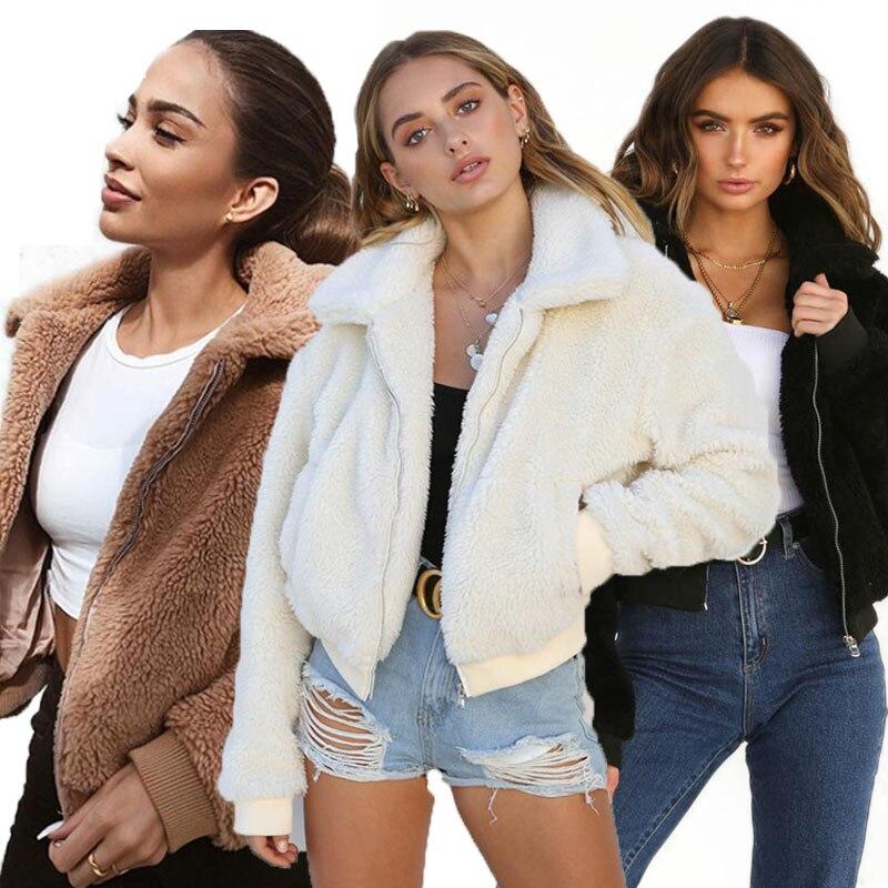 H51bcfc903c3e439ba7b2450f71ec1ee2X Fashion New Zip Up Punk Oversize Outwear Coats With Pockets Winter Women Warm Teddy Bear Long Sleeve Fleece Jackets Crop Tops