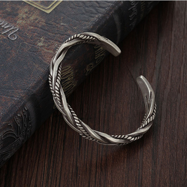 XIYANIKE 925 Sterling Silver Twisted Woven Bracelet Neutral Retro Thai Original Handmade Exquisite Unique Opening Bracelet Gift 4