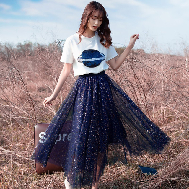 Planet & Stars Tee and Tulle Skirt Two Piece Set 3
