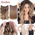Невидимая проволока волосы для наращивания без зажимов для волос с прямыми прядями, синтетические накладные волосы для женщин заколка для ...