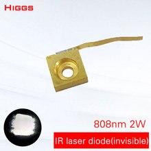 Большая мощность 808nm 2000 мВт 2 Вт Инфракрасный невидимый лазерный диод ИК-светильник полупроводниковый ночной Светильник Дополнительная лампа