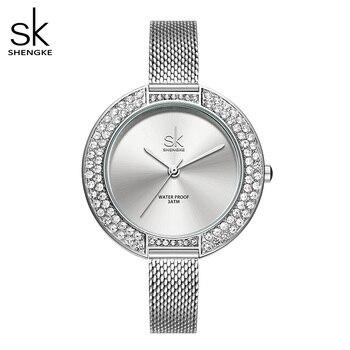 Shengke luksusowe kobiety zegarek diamentowa tarcza bransoletka zegarek dla dziewczyny eleganckie panie zegarek kwarcowy damska sukienka zegarek marki zegarek