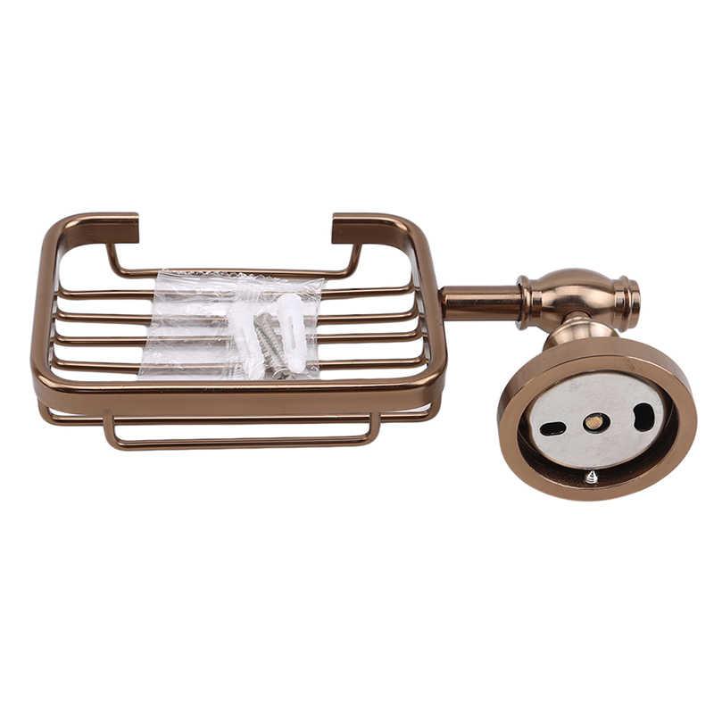 Europeu retro escovado espaço de alumínio banheiro pingente sabão net, ferragem do banheiro pingente sabão rack