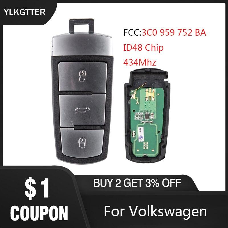 Llave de coche remoto inteligente YLKGTTER para VW/Volkswagen Passat B6 3C B7 Magotan CC con 3C0959752BA 434Mhz llave de coche con Chip ID48