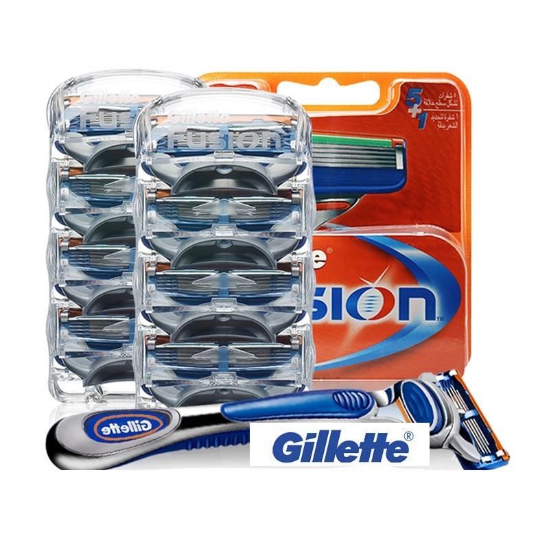 Original Gillette Fusion Razor Blades For Men Sharp Trimmer Straight Razor Case Cover Manual Five Layer Shaver Blade Tools