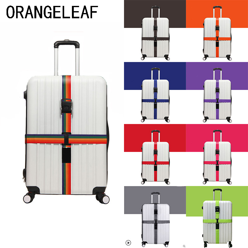 Luggage Strap Cross Belt Travel Accessories Packing Adjustable Suitcase Nylon 3 Digits Password Lock Buckle Strap Baggage Belts