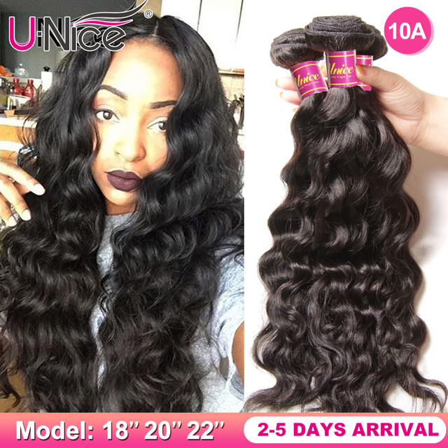$ US $16.00 UNice Hair Company Brazilian Hair Weaving Natural Wave 100% Human Hair Bundles 1/3/4 Pieces Remy Hair Extension 8-26inch