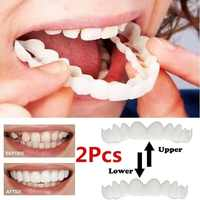 1Set Upper & Lower Teeth Simulation Brace Whitening Sleeve Second Generation Silicone Simulation Tooth Denture Sleeve With Box