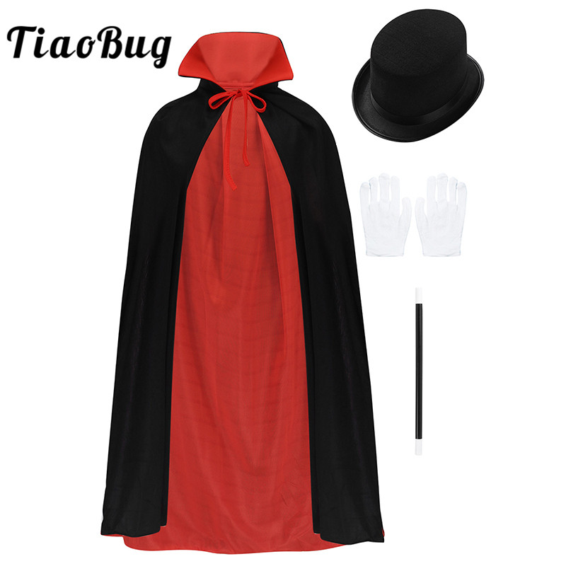 TiaoBug Children Girls Boys Magician Costume Cape Hat Magic Wand Gloves Set For Kids Halloween Cosplay Party Accessories Set