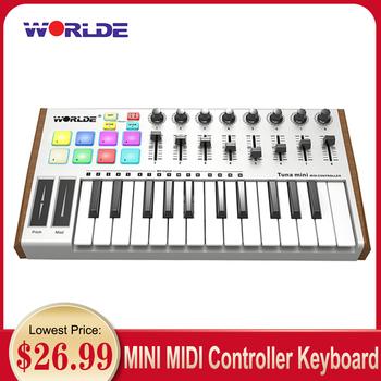 WORLDE klawiatura Midi kontroler Midi tuńczyka 25-klucz USB klawiatura MIDI sterownik klawiatury 8 RGB podświetlany wyzwalacza Pads z 6 35mm gniazda pedał tanie i dobre opinie Muslady CN (pochodzenie) Do profesjonalnych wykonań Pionowe pianino 25-Key USB MIDI Keyboard Kompozyty Wielowarstwowe 1 258
